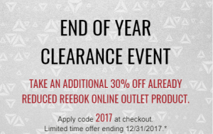 Reebok End Of Year Clearance Event